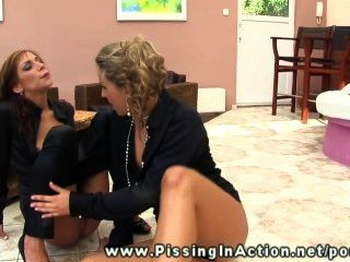Piss Loving Lesbian Sluts Kinky Play On The Floor With Toys