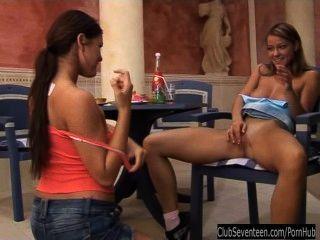 Lesbian Cuties Sharing Rabbit Dildo
