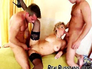 Both Holes Of Russian Slut Gets Filled !!