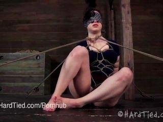 Brunette In Japanese Rope Bondage And Orgasm Denial Until She Begs To Cum