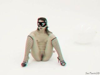 Masked Girl Posing And Spreading In A Studio - 3d Porn Backstage