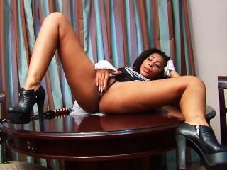 Ebony Maid Plays With Her Shaved Pussy On Her Shift
