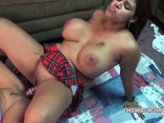 Leeanna And Angel Are Sharing The Big Double Dildo