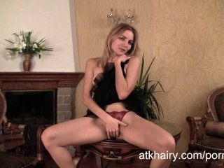 Russian Blonde Malika Offers You Her Beautiful Full Bush Pussy