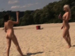 Nude Teen Friends Play Around At A Public Beach