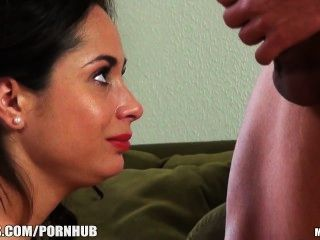 Petite Euro Brunette Deepthroats And Rides A Thick Cock