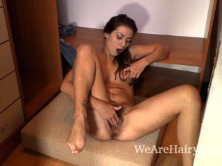Hairy Babe Edica Masturbates While In Her Closet