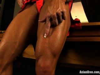 Angela Salvagno Flexing Her Biceps Then Takes Off Her Dress And Masturbates