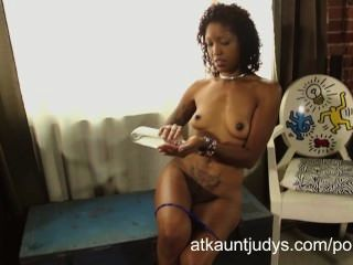 Ebony Cougar Lotus Lain Fingers Her Chocolate Milf Pussy