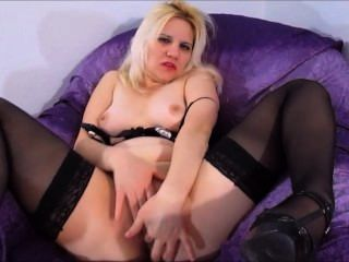 Horny Blonde Sexy Milf Squirting While Fingers Play With Wet Pussy