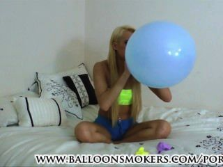 Teen Blows To Pop Balloons In Bedroom