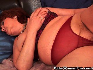 Full Figured Granny With Big Tits Fucks A Dildo