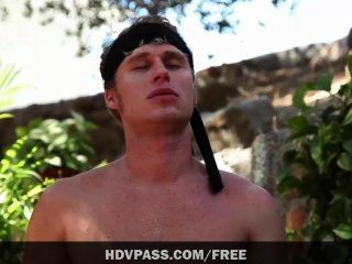 Anissa Kate Sucks And Fucks Two Guys In This Karate Kid Parody