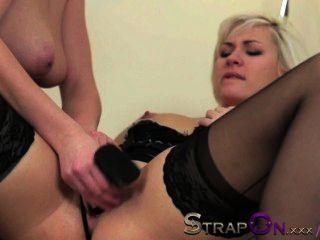 Strapon Hot Blonde Lesbians Make Love With Strapon Dildo