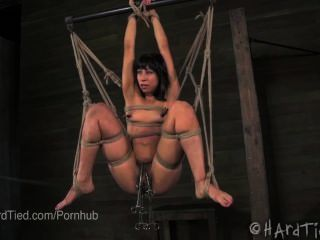 Hairy Latina Cutie Suspended In Rope Bondage