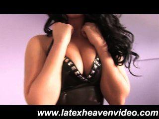 Sophie Star Latex Catsuit Striptease