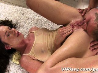 Horny Hottie Showers In Her Mans Fresh Urine