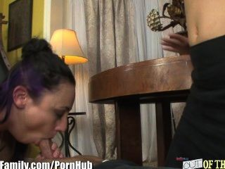 Busty Milf Shows Whore Step-daughter Cock And Ball Sucking