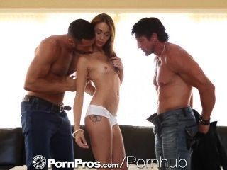Pornpros Brunette Teen Fucked By Two Big Dicked Guys
