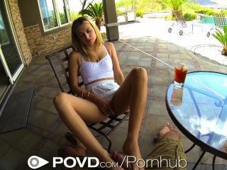 Povd Blonde Teen Teases Man Outside Till She Is Fucked