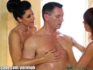Nurumassage India Summer And Masseuse Share Cock