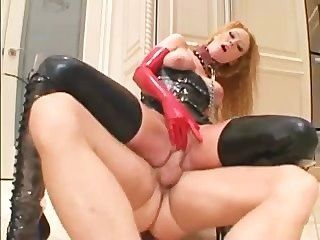 Audrey Hollander Deepthroats And Fucks In Latex And Boots