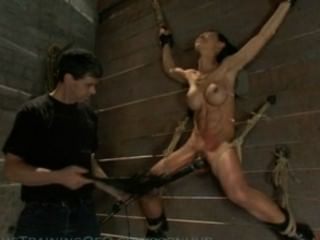 Asian Slave Is Bound And Suspended, And Taught To Be A Fuck Toy