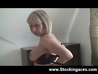 Busty Blonde Mild Fucks Her Shaven Pussy