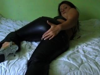 Hot Amateur Leather Pants Fucking