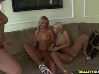 Three Gorgeous Blondes Tear Off Their Sun Dresses And Lick Pussy