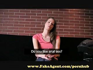 Fakeagent. Brunette With Amazing Natural Tits Makes Me Cum.