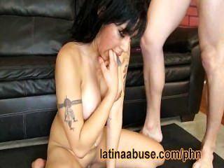 Latina Gets Sloppy Sucking Two Big Cocks