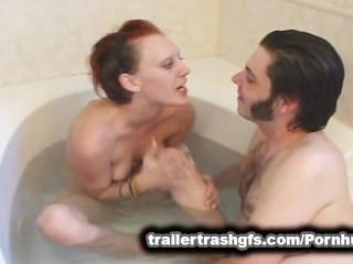 Horny Trashy Teen Gets Water Squirted Up Her Ass And Pussy In The Bath!
