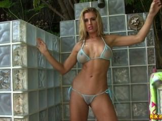 Randy Moore Showers Outdoors With A Big Pink Cock