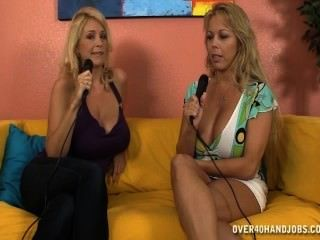A Busty Lady Jacks A Cock During A Tv Show