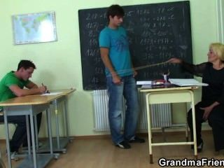 Hard Threesome Right In The Classroom