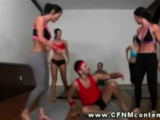 Four Big Boobed Yoga Ladies Control Two Slongs - Part 1