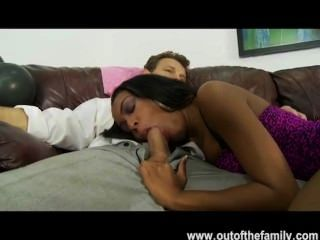 White Stepdad Fucks Black Teen Daughter