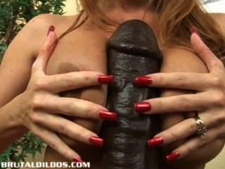 Milf janet taking every foot of a thick dildo 7