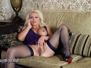 Horny Blonde Milf Has Phone Sex Fingering And Toying Her Wet Pussy