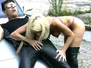 Hot Pink Blondie Fucked On A Car