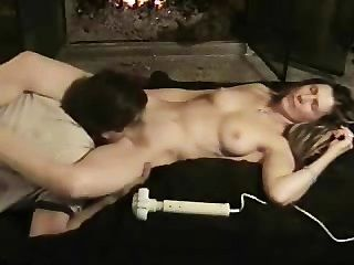 Couple Cums By Fireplace!