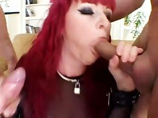 Red Head Gets Ass Pounded By 2 Cocks