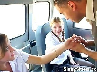 2 Teen Babysitters Give Blowjob In A Van