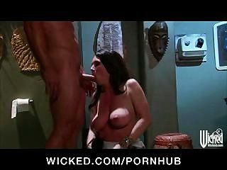 Horny Big-tit Brunette Milf Fucked In Public Bathroom By Hard Dick