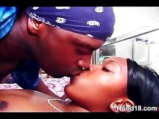 Sexy Ebony Couple Fucking Hard On Bed