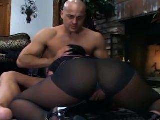 Busty Brunette Fucking In Black Crotchless Hosiery