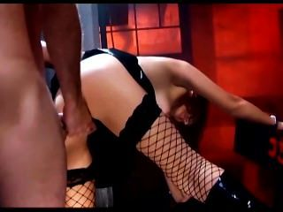 Sexy Redhead Fucking In Fencenet Stockings A Miniskirt And Boots