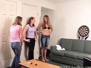 Mia, Ashley And Ashton Play Strip Darts