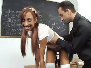 Petite Pigtailed Redhead Schoolgirl In Opaque Stockings Fucked On A Desk